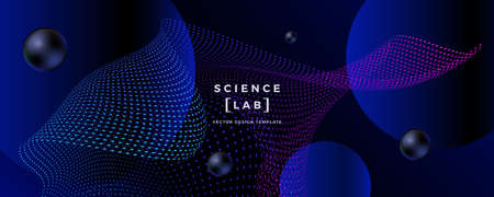 Abstract science or technology background with dynamic grids and particles. Trendy future style design. Applicable for banners, flyers, covers, presentations, identity, landing pages, websites.