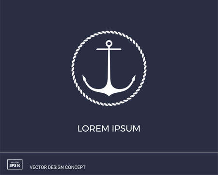 Anchor emblem with circular rope frame. Modern minimal flat design style. Simple logotype template. Vector illustration.