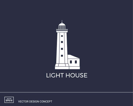 Lihgthouse emblem. Modern minimal flat design style. Simple logotype template. Vector illustration. Logo