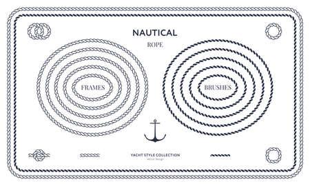 Ensemble de cadres et bordures de corde nautique. Conception de style yacht. Éléments décoratifs vintage. Modèle pour les impressions, les cartes, les tissus, les couvertures, les dépliants, les menus, les bannières, les affiches et les pancartes. Illustration vectorielle.