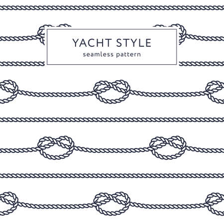 Nautical rope seamless pattern. Yacht style design. Vintage decorative background. Template for prints, wrapping paper, fabrics, covers, flyers, banners, posters and placards. Vector illustration. Vector Illustratie