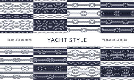 Set of nautical rope seamless patterns. Yacht style design. Vintage decorative background. Template for prints, wrapping paper, fabrics, flyers, banners, posters and placards. Vector illustration.