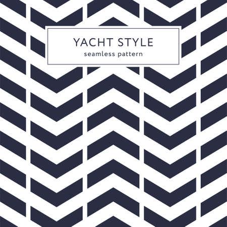 Simple zigzag seamless pattern. Yacht style design. Striped geometric background. Template for prints, wrapping paper, fabrics, covers, flyers, banners, posters and placards. Vector illustration.
