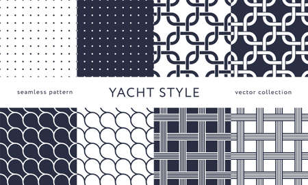 Set of nautical seamless patterns. Yacht style design. Vintage decorative background. Template for prints, wrapping paper, fabrics, flyers, banners, posters and placards. Vector illustration.
