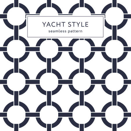 Geometric elegant seamless pattern with circles. Yacht style design. Abstract decorative background. Vector illustration for fashion design. Modern elegant wallpaper. Navy blue color.