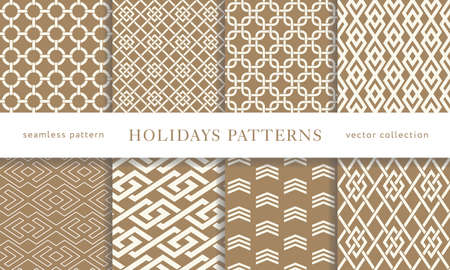 Set of seamless winter holidays geometric patterns. Merry Christmas and Happy New Year golden collection. Modern elegant wallpaper. Vector illustration.
