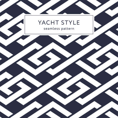 Geometric seamless pattern with crossing lines and rhombuses. Yacht style design. Elegant geometric background. Template for prints, wrapping paper, fabrics, covers, banners. Vector illustration.
