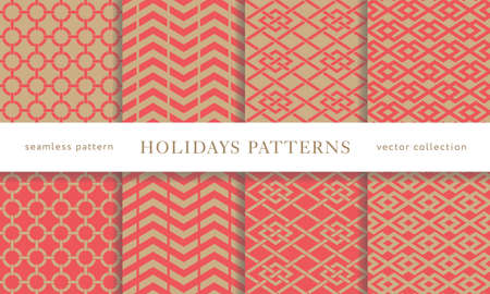 Set of seamless winter holidays geometric patterns. Merry Christmas and Happy New Year collection. Modern elegant wallpaper. Vector illustration.