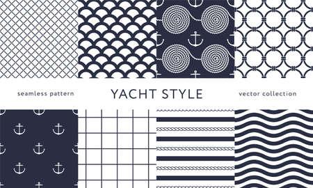 Set of nautical seamless patterns. Yacht style design. Vintage decorative background. Vector illustration. Vettoriali