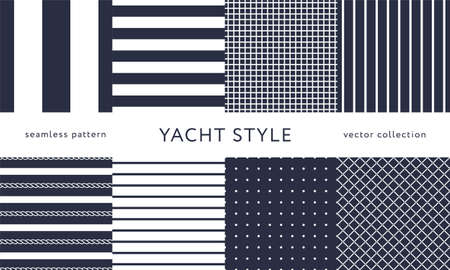 Set of nautical seamless patterns. Yacht style design. Vintage decorative background. Vector illustration. Ilustrace