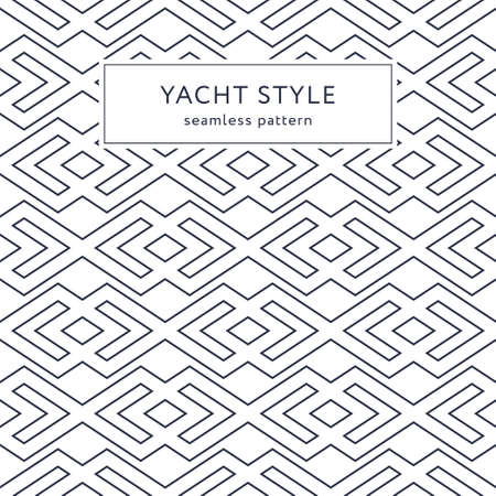 Geometric seamless pattern with outline rhombuses. Yacht style design. Elegant geometric background. Vector illustration.