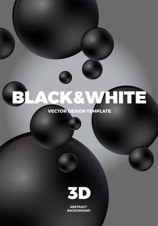 Minimal modern poster or cover design template with 3d black and white balls. Trendy abstract background. Vector illustration.