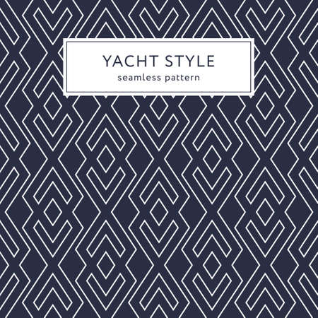 Geometric seamless pattern with outline rhombuses. Yacht style design. Elegant geometric background. 矢量图像