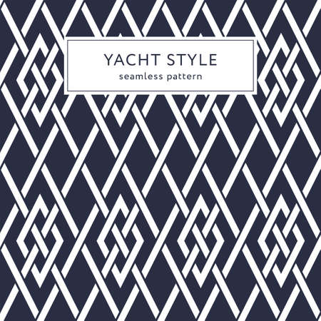 Geometric seamless pattern with crossing lines and rhombuses. Yacht style design. Elegant geometric background.