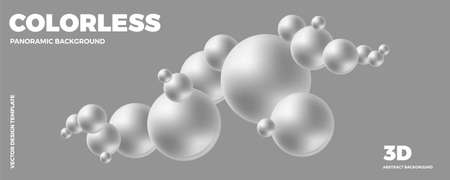 Trendy abstract design template with 3d white balls. Minimal style.