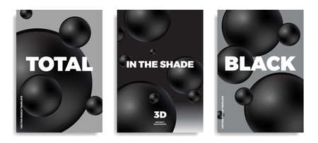 Set of minimal modern poster or cover design templates with 3d black and white balls. Trendy abstract background. Vector illustration. 矢量图像