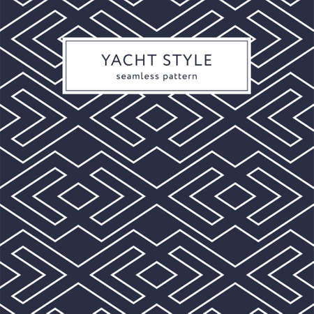 Geometric seamless pattern with outline rhombuses. Yacht style design. Elegant geometric background.  Vector illustration. Ilustrace