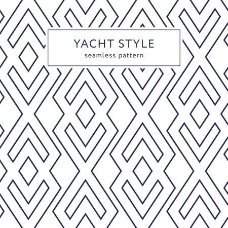 Geometric seamless pattern with outline rhombuses. Yacht style design. Elegant geometric background.  Vector illustration. 矢量图像
