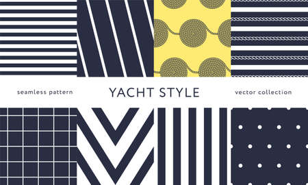Set of nautical seamless patterns. Yacht style design. Vintage decorative background.  Vector illustration.