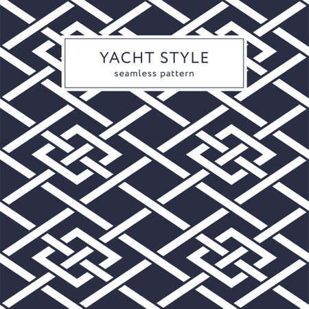 Geometric seamless pattern with crossing lines and rhombuses. Yacht style design. Elegant geometric background.  Vector illustration.