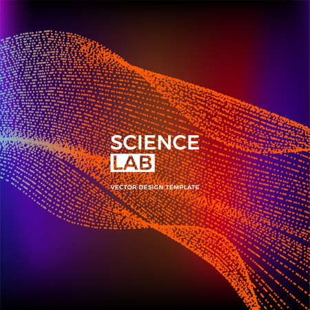 Science or technology background with dynamic particles. Trendy colourful design template. Applicable for banners, posters, placards, flyers, covers, presentations, identity, social media, websites.