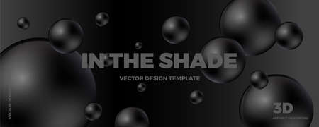 Trendy abstract design template with 3d black and white balls. Minimal style. Applicable for landing pages, covers, brochures, flyers, presentations, banners. Vector illustration. Eps 10