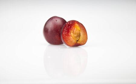 apricot kernels:  Apricot plum Stock Photo