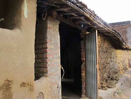 Indian house in country side made wall from cow dung