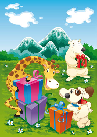 Animals and gifts with background Vector