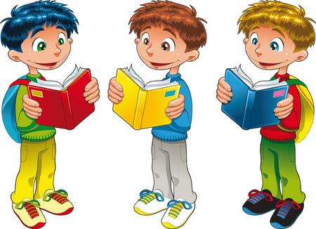 novice: Three boys are reading