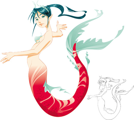 Mermaid (color and BlackWhite lines) Vector