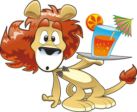 Lion with Drink Stock Vector - 5423323