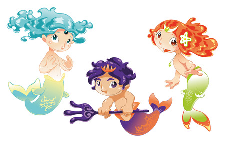 sirens: Two Baby Sirens and a Baby Triton: funny cartoon vector and mythological characters