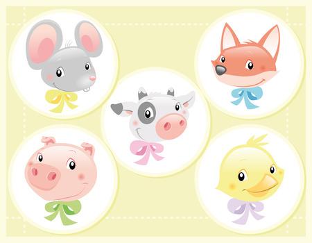 tenderly: Illustrazione Vettoriale - Baby animali da compagnia: mucca, la volpe, il mouse, di uccelli e di maiale.