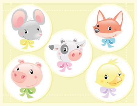 Vector Illustration - Baby Pet animals: cow, fox, mouse, bird and pig.