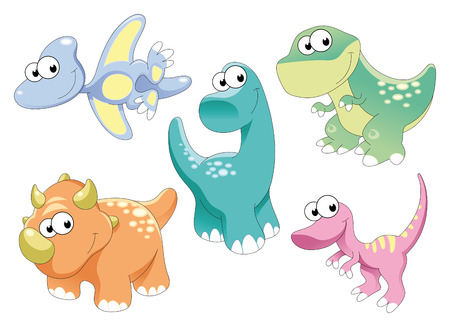 art:  Family of dinosaurs: brontosaurus, tyrannosaur, pterodactyl and triceratops are baby reptiles Illustration