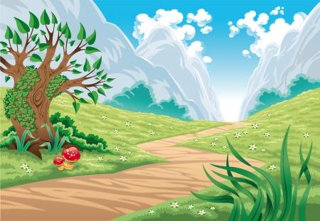 Paisaje de montaña, ilustración vectorial