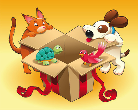 Gift and pets with background, vector and cartoon scene Vector