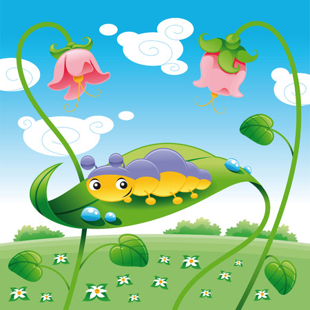 Grub on the leaf, vector and cartoon character Stock Vector - 5450512