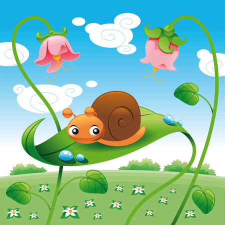 Snail on the leaf, vector and cartoon character