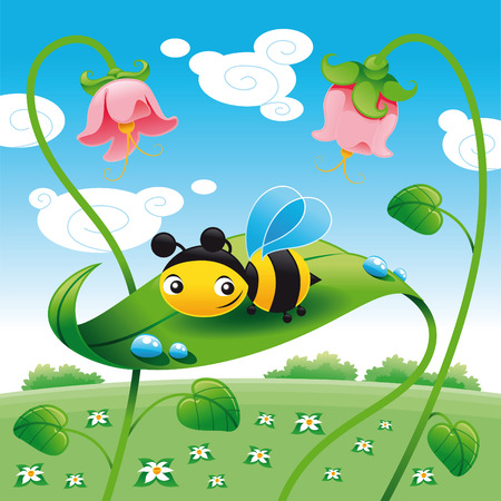 Bee on the leaf leaf, cartoon and vector characters Illustration