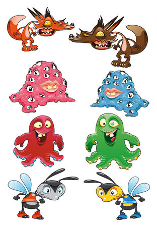 Baby monsters, cartoon and vector characters Vector