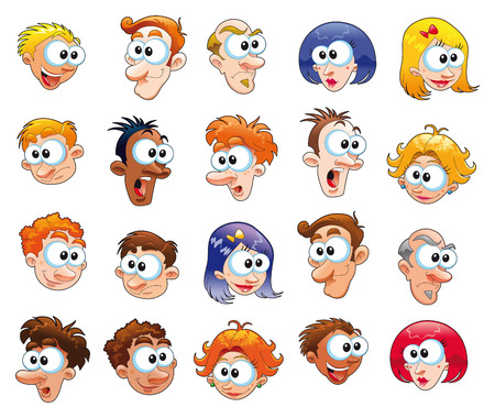 ansikten: Funny faces, vector and cartoon characters