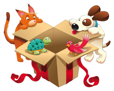 Gift and pets, vector and cartoon scene Vector