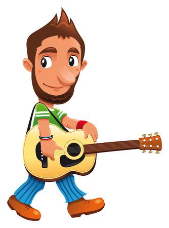 m�sico: Personaje gracioso de m�sico, vector y dibujos animados