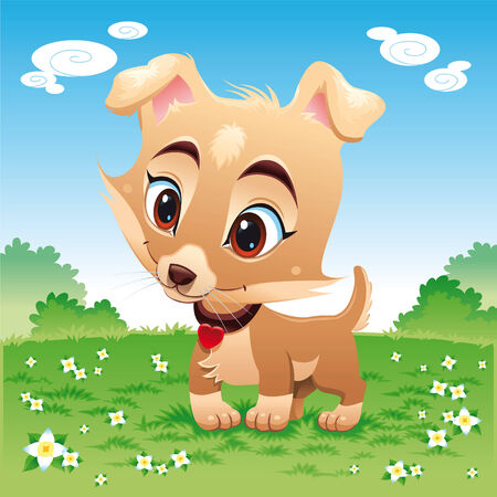 tenderly: Baby dog in the meadow, cartoon and vector characters