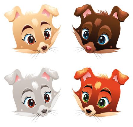 Caracteres de perro, dibujos animados y vector de bebé