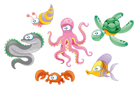 Family of marine animals, cartoon and vector characters Vector