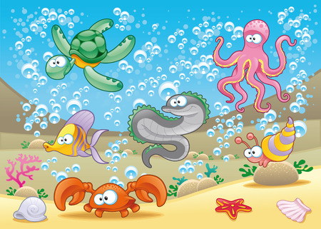 toy fish: Family of marine animals in the sea, cartoon and vector illustration