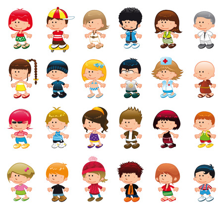 Boys and girls, vector and cartoon characters Vector